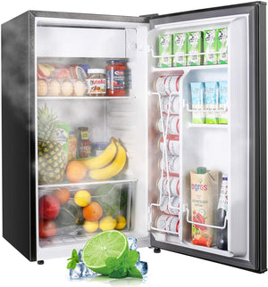 TECCPO 3.1 Cu.Ft Compact Fridge with Freezer, 37 dB, Energy Star, Auto Defrost, 6 Temperature Settings, Small Fridge, Small Refrigerator for Dorm, Office, Bedroom, Apartment, Black-TAMF32