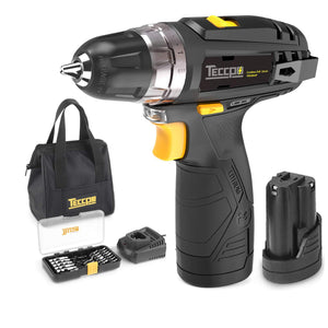 "TECCPO Compact Cordless Drill Lightweight with 2X 2.0Ah Batteries, Fast Charger, 265In-lbs Torque, 20+1 Torque Setting, 3/8"" Chuck, 29pcs Accessories - TDCD01P"