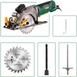 "TECCPO 4-1/2"" 3500 RPM 4 Amp Compact Circular Saw with Laser Guide, 24T Carbide Tipped Blade - TAMS24P"