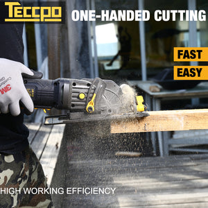 "TECCPO 4 Amp 4-1/2"" 3500 RPM Compact Circular Saw with 24T Carbide Tipped Blade - TAMS25P"