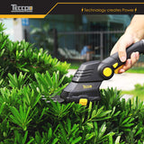 TECCPO Cordless Grass Shear, 3.6V Cordless Shrub Shear and Hedge Trimmer 1.5 Ah, 100min USB Fast Loading and Rotating Handle, Cutting width 70mm - TDGS01G