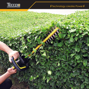 TECCPO 18V 2.0 Ah Cordless Hedge Trimmer, 520mm Blade Length, 18mm Tooth Opening, Dual Action Laser Blade, Triple Safety Start Button,with Charger and Battery - TDHT02G