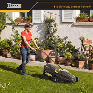 TECCPO 28V 2.0Ah Cordless Lawn Mower, 35L Grass Bag, 330m Cutting Width, Five Adjustable Cutting Heights, Triple Safety Starter, Brushless Motor - TDLM02G