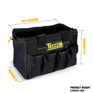 Tool Bag, TECCPO Tools Bag 18-inch Wide Mouth Big Tool Bag with High-end Embroidery, Water Proof Molded Base - THTB01B