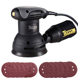 TECCPO 5-inch 2.4Amp/12,500 OPM Random Orbit Sander with 12 Pcs Sandpapers, Recyclable Cotton Dust Bag - TARS23P