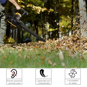 TECCPO 3000W Leaf Blower,  Vacuum & Mulcher 3-in-1 with Two Speed Switch, Variable Blow Speed of 210/350km/h, Collection Bag 40 litres, Bag Strap - TABV01G