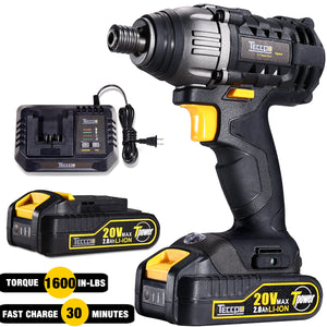 TECCPO 18 Combo Kit, 180Nm Impact Driver, 60Nm Cordless Drill Driver, 30min Fast Charger, Twin Pack, 2 Batterie 2.0Ah, 2900RPM Max Speed - TDCK01P