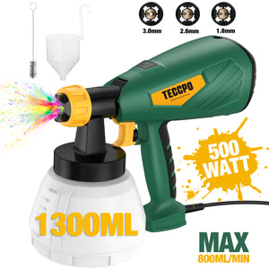 TECCPO Paint Sprayer 500 Watts 800ml/min HVLP Spray Gun with 1300ml Detachable Container, 3 Pcs Copper Nozzles & 3 Spray Patterns, Adjustable Valve Knob for Home Decoration & DIY - TAPS02P