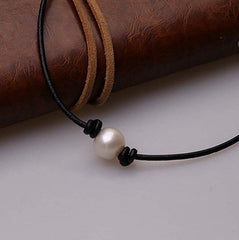 Aphaca Freshwater Pearl Choker Leather Necklace for Women Jewelry Rope Necklace