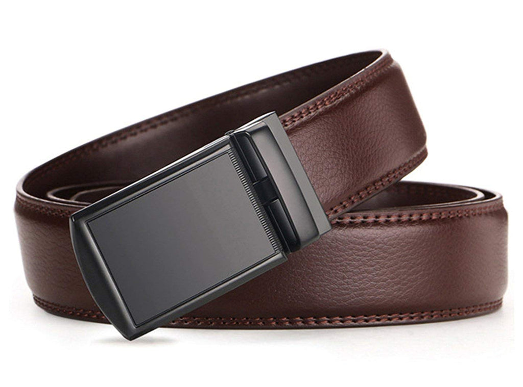 New Men/'s Belt Red Leather Dress Belt Auto Lock Sliding Buckle Up to 38 inches.