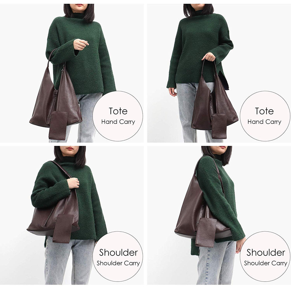 STEPHIECATH Women Genuine Cow Leather Shoulder Bag Slouchy Stirng Hobo Casual Soft Tote Ladies Vintage Leather Bag