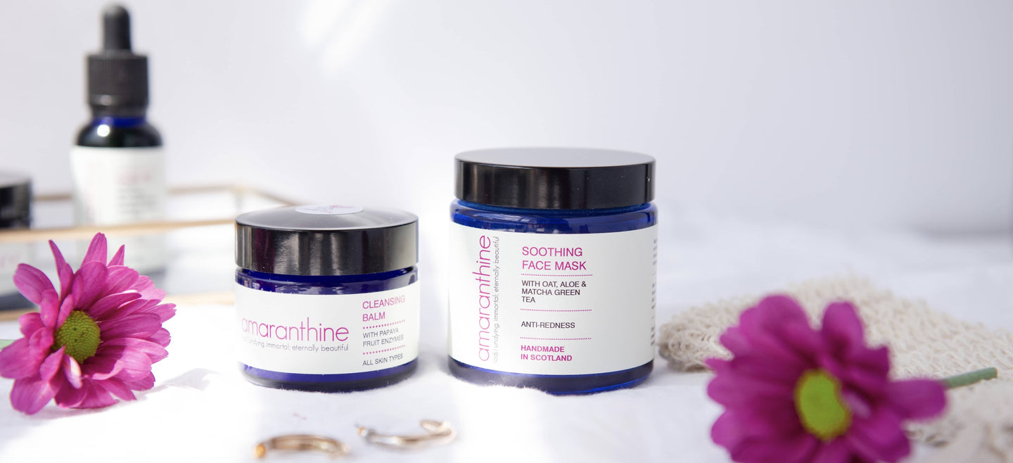 Cleansing balm and soothing face mask with pink flowers