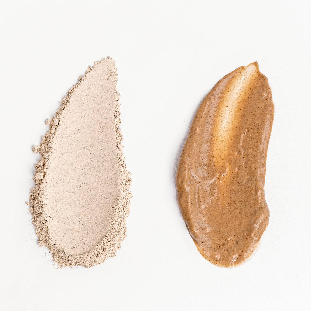 Texture shot of Radiance Face Mask in powder form and also mixed with water.