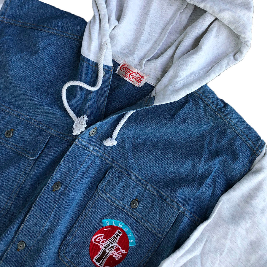 Vintage Coca Cola Denim Hooded Button Up Sweater S