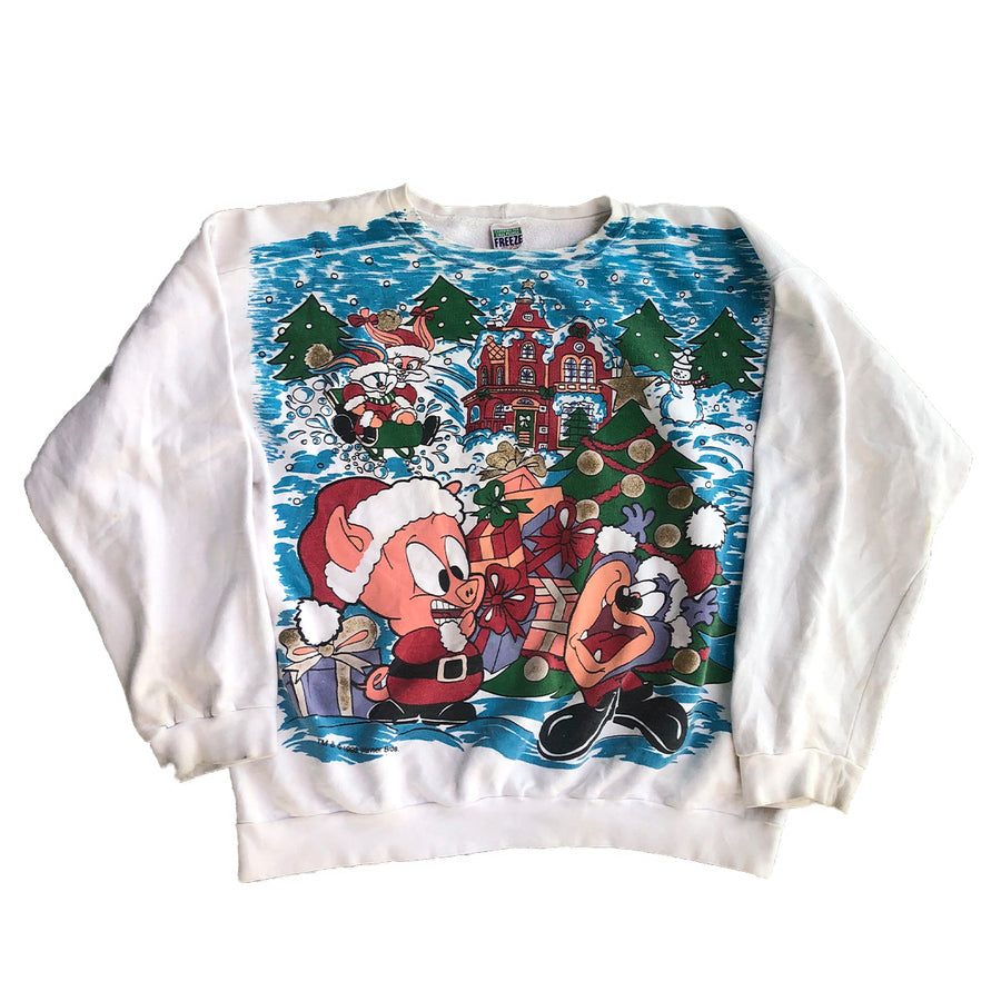 Vintage 1993 Warner Bros Christmas Crewneck Sweater XL