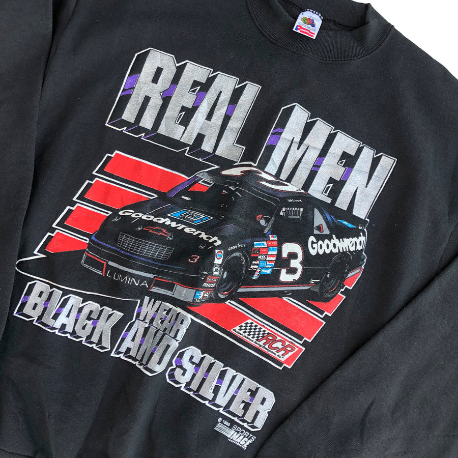 1990 Real Men Wear Black & Silver Nascar Crewneck Sweater L