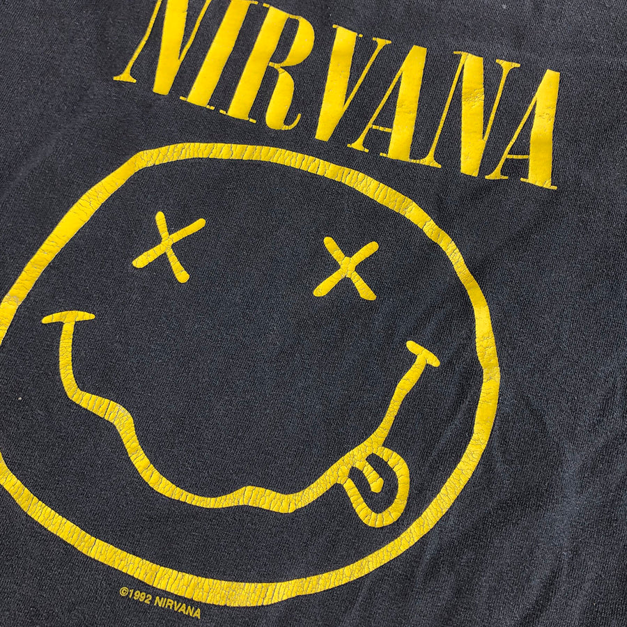 Vintage 1992 Nirvana Corporate Rock Whores Smiley Face Tee S