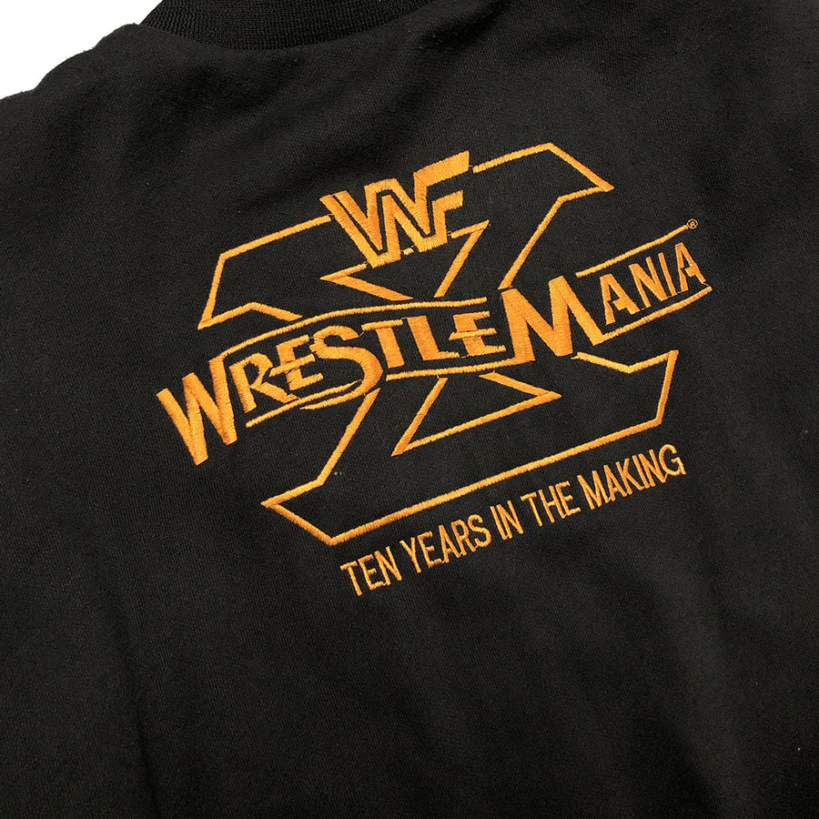 Very Rare Vintage WWF Wrestlemania X 10 Button Up Jacket L
