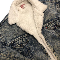 Vintage 80s Acid Wash Denim Levis Sherpa Jacket L