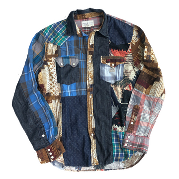 Denim & Supply Ralph Lauren Patchwork Western Button Up L