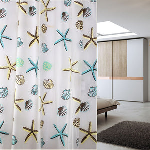 Shell Sea Star Bathroom Waterproof Shower Curtain 12 Hooks