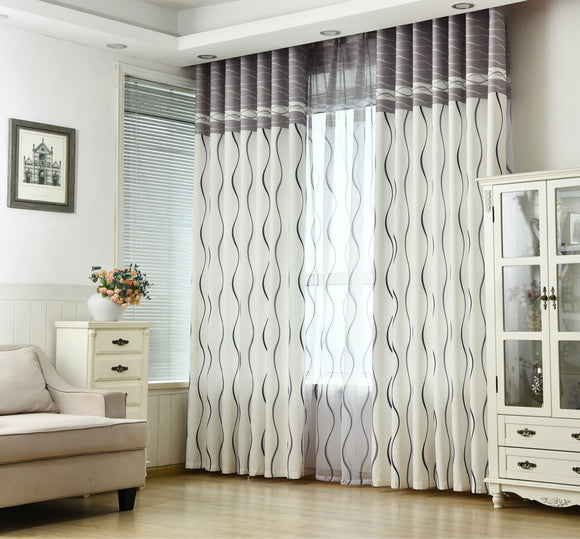 Classic Black / White Stripe Flat Protection Curtain Size - W 200
