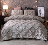 Luxury Duvet Cover Pinch Pleat Brief Bedding Set Pillowcases