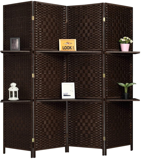 6 ft.Tall Extra Wide 6 Panels Room Divider Folding Screen Privacy Partition Wall 2 Display Shelves