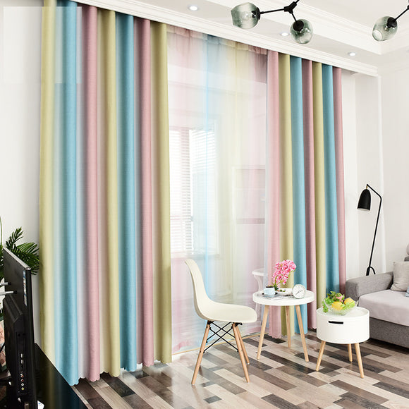 Stripe Blackout for Bedroom Chiffon Curtain Size - W 40