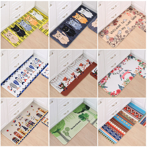 Home Entrance Flannel Doormat Modern Cartoon Rug Long Kitchen Mat Bath Carpet Floor Mat Absorbent Bedroom Living Room Floor Pad