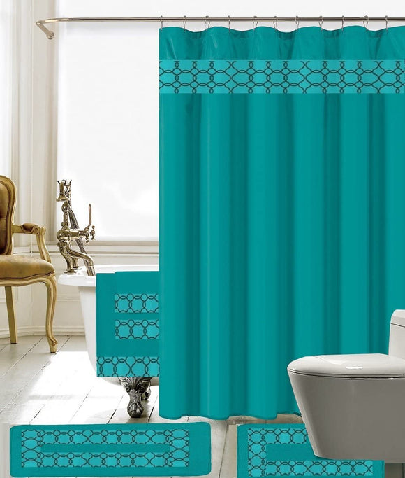 18 Piece Embroidery Banded Shower Curtain Bath Set 1 Bath Mat 1 Contour 1 Shower Curtain 12 Matching Fabric Shower Rings 3 Pcs Matching Towel Set