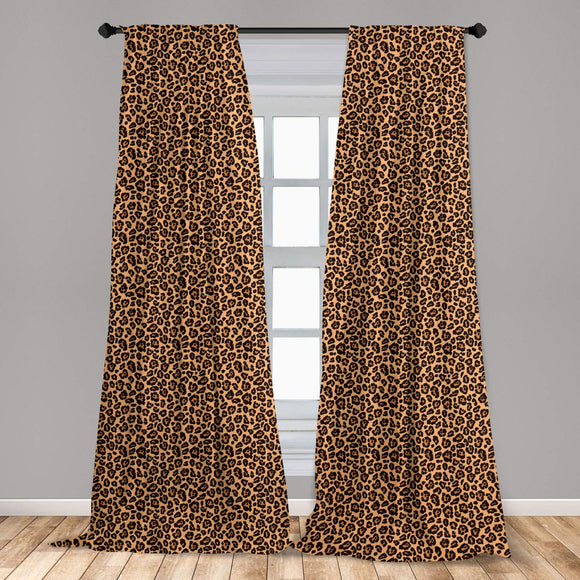 Leopard Print Window Curtains, Leopard Texture Illustration Exotic Fauna Inspired Pattern, Lightweight Decorative Panels Set of 2 with Rod Pocket, 56