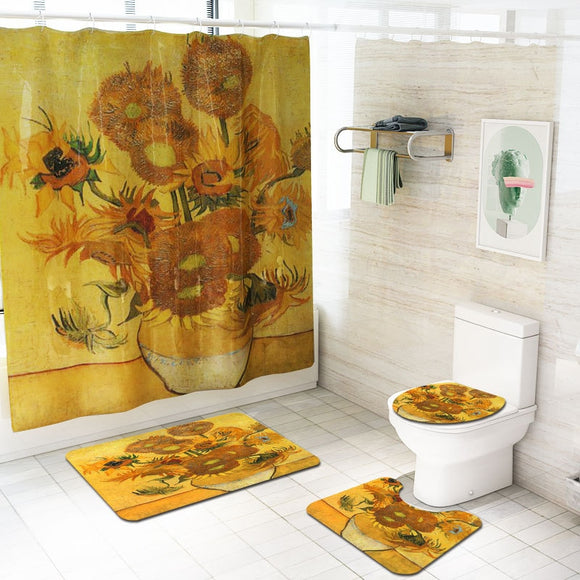 Waterproof Sunflowers Printing Shower Curtain Toilet Cover Bath Mat Non Slip Rug Set
