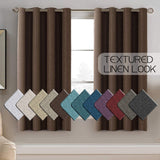 Linen Curtains Room Darkening Light Blocking Thermal Insulated Heavy Weight Textured Rich Linen Burlap Curtain