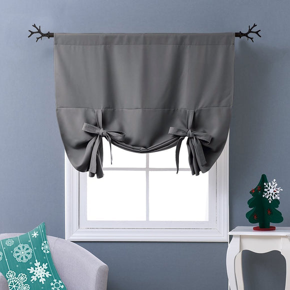 Thermal Insulated Blackout Bathroom Curtain Tie Up Shade for Small Window Valance Balloon Blind (Rod Pocket Panel 46 inches W x 63 inches L)