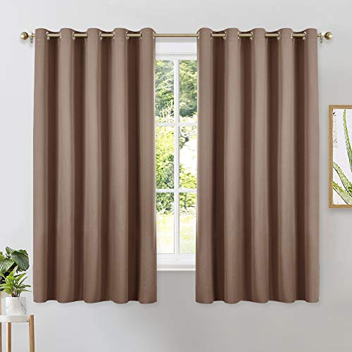 Set of 2 Blackout Window Curtains and Drapes for Kitchen, Window Treatment Thermal Insulated Solid Grommet Blackout Drapery Panels