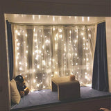 300 LED Warm White Window Curtain String Light Wedding Party Home Garden Bedroom Outdoor Indoor Wall Decorations, Warm White
