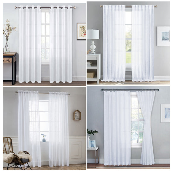 Sheer Curtains for Doors Window Linen Textured Look Drapes Sliding Door Tulle Curtains