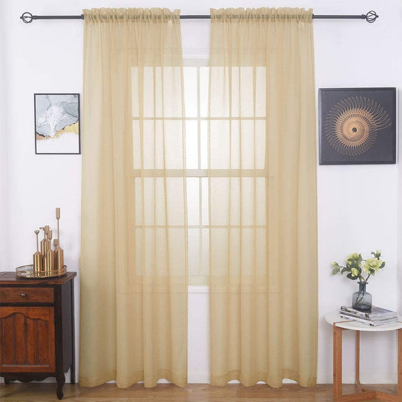 Sheer Curtains Window Treatments Rod Pocket Drapes for Living Room, Bedroom, Semi Crinkle Voile Extra Wide Curtains for Yard, Villa, Parlor