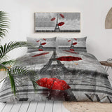 Eiffel Tower Bedding Red Umbrella in Rain Comforter Cover 3 Pieces France Duvet Cover Set