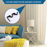 "Heavy Duty Curtain Rod Brackets Double Rod Holders Double Curtain Rod Brackets 1"" and 5/8"" Inch Rod Set of 2, Black"