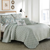 5 Piece Teal Aqua Printed Bed Cover Quilt Blanket Cotton Polyester Filled Embroidery Pillow Set