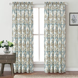 Tivoli Ikat Design Curtain Set, Teal-Aqua