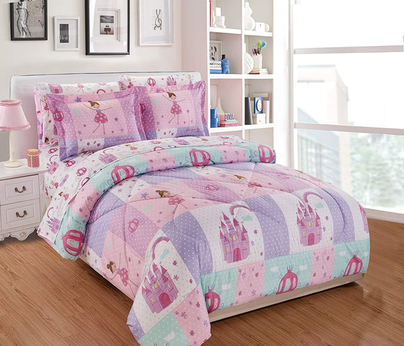 Comforter Set for Girls Princess Fairy Tales Castles Pink White Lavender