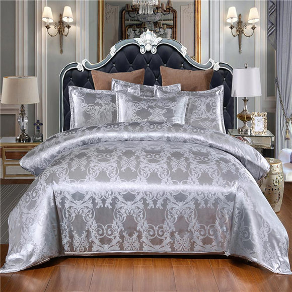Silk Satin Jacquard Duvet Cover Bedding Set Embroidery