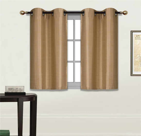 Small Window Short Curtain Faux Silk Semi Sheer Drapes 2 Panels Set