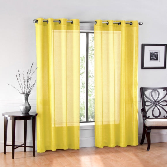 Textile 2 Piece Window Sheer Curtains Grommet Panels 54
