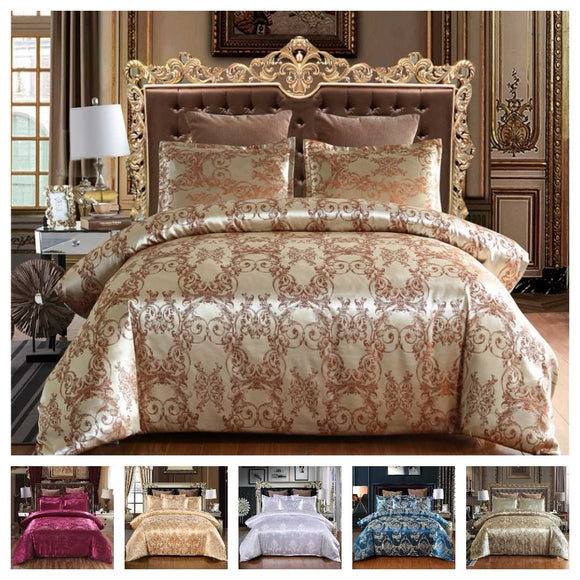 Luxury Bedding Set Satin Jacquard Duvet Cover Set with Zipper Closure Quilt Cover Pillowcases