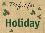 "Christmas Holiday Embroidered Placemats 13 x 19"" Set of 4"