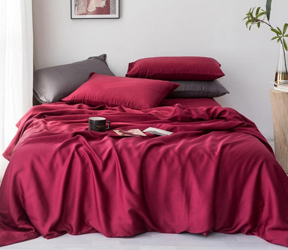 25 Momme 100% Silk Beauty Bedding Set Silk Duvet Cover Flat Sheet Pillowcase